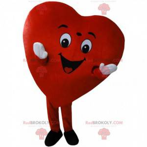Giant red heart mascot, romantic and smiling costume -