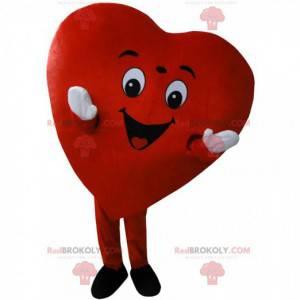 Maskot obří červené srdce, romantický a usměvavý kostým -