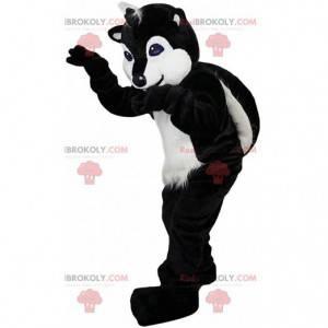 Mascota de polecot blanco y negro, disfraz de mapache -