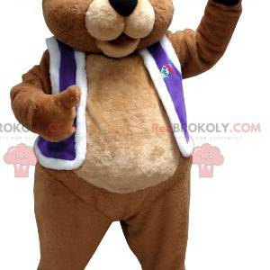Brown bear mascot dressed as a king - Redbrokoly.com