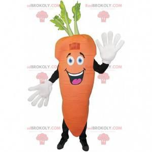 Reusachtige oranje wortel mascotte, plantaardig kostuum -