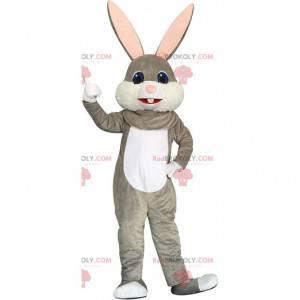 Grijs en wit konijn mascotte, groot konijnenkostuum -