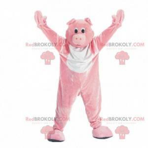 Anpassbares rosa und weißes Schweinemaskottchen - Redbrokoly.com