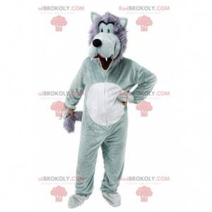 Gray and white wolf mascot, funny and hairy wolf costume -
