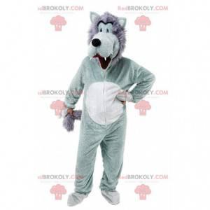 Mascotte lupo grigio e bianco, costume lupo divertente e peloso