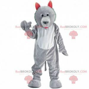 Szary i biały wilk maskotka, kostium psa wilka - Redbrokoly.com