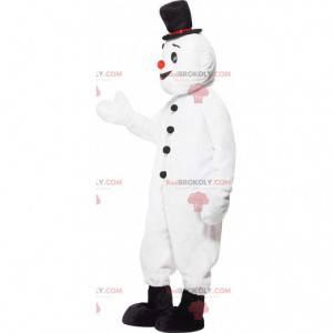 Mascotte del pupazzo di neve bianco con un cappello -