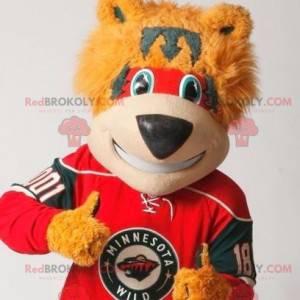 Rot und grau orange Bärenmaskottchen - Redbrokoly.com