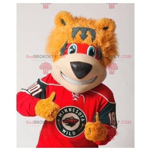 Maskot červený a šedý medvěd oranžový - Redbrokoly.com