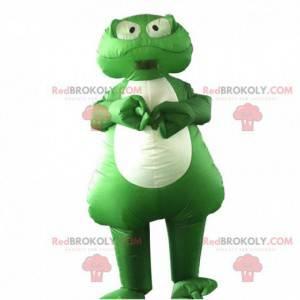 Opblaasbare groene kikker mascotte, kikkerkostuum -
