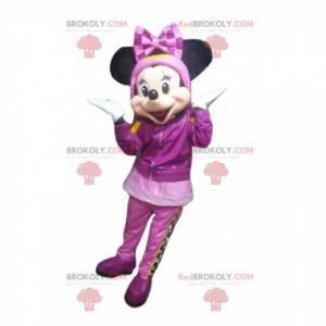 Mascote de Minnie Mouse em traje de inverno, fantasia da Disney