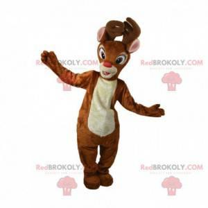 Mascote de rena de Natal com nariz vermelho, mascote de caribu