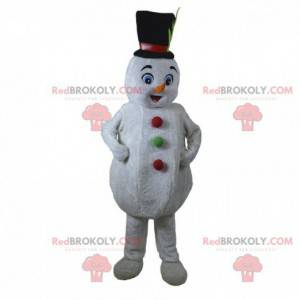 Mascota de muñeco de nieve blanco, traje de Navidad -