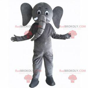 Mascota elefante gris gigante y divertida, disfraz infantil -