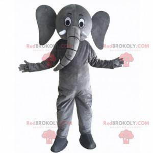 Mascote elefante cinzento gigante e engraçado, fantasia