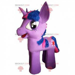 Min lille pony maskot, lyserød og blå pony kostume -