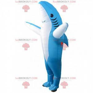 Nafukovací maskot modrý žralok, kostým obrovský žralok -
