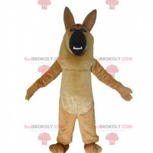 Brown and black German shepherd mascot, dog costume -