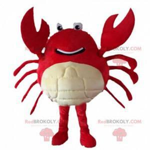 Mascota cangrejo gigante rojo y blanco, traje de mar -