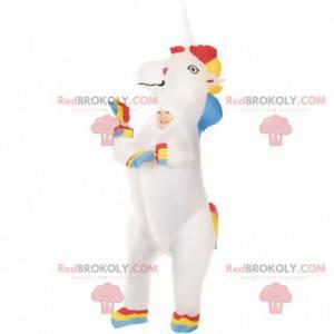 Mascote de unicórnio inflável muito colorido, fantasia de