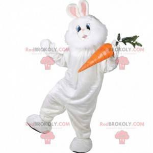 Mascote coelho branco rechonchudo e peludo, fantasia de coelho
