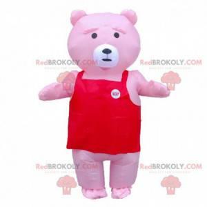 Aufblasbares rosa Teddybär-Maskottchen, riesiges rosa