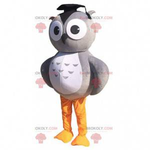 Gray and white owl mascot with a mortar hat - Redbrokoly.com
