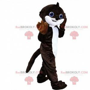 Mascote de lontra marrom e branca, fantasia de toupeira -