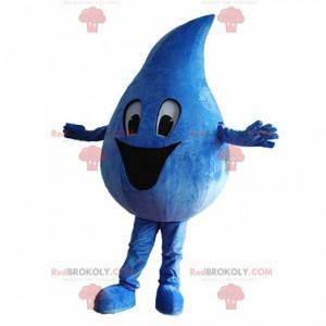 Mascotte gigante blu goccia con un grande sorriso -