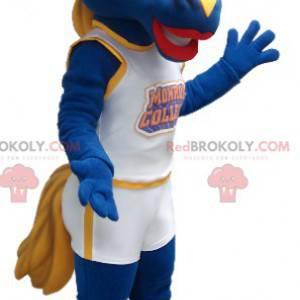 Mascote cavalo azul e amarelo - Redbrokoly.com