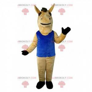 Brązowy koń maskotka z niebieskim podkoszulkiem, gigantyczny