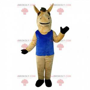 Cavalo mascote marrom com top azul, cavalo gigante -