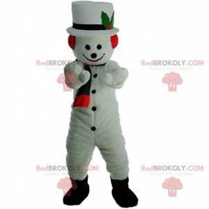 Sneeuwpopmascotte met een hoed en sjaal - Redbrokoly.com