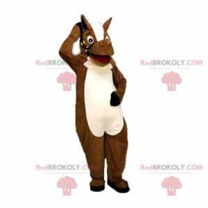 Hnědý a bílý kůň maskot, kostým koně - Redbrokoly.com