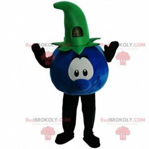 Mascote de mirtilo azul e verde, fantasia de frutas vermelhas -