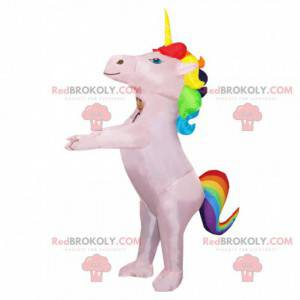 Inflatable pink unicorn mascot with colorful mane -