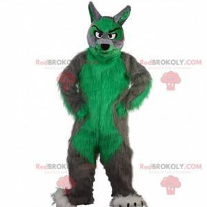 Šedý a zelený vlk maskot, chlupatý a barevný kostým vlka -