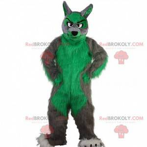 Mascote de lobo cinza e verde, fantasia de lobo peludo e