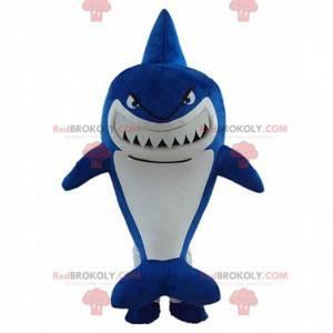 Mascote de tubarão azul grande com aparência feroz, fantasia de