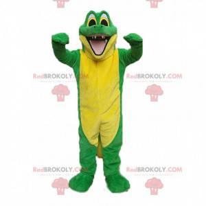 Mascote de crocodilo verde e amarelo, fantasia de crocodilo -