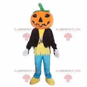 Mascote gigante e sorridente de abóbora, fantasia de Halloween