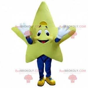 Reusachtige en glimlachende gele ster mascotte, ster kostuum -