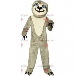 Mascot perezoso gris y blanco con grandes garras -