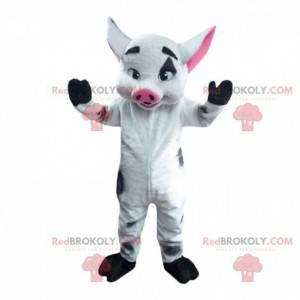 Mascot reusachtig wild zwijn, wit en zwart wild varken -