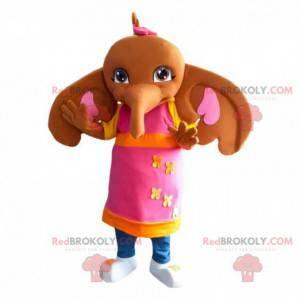 Mascot Sula, den farverige elefant, ven med Bing Bunny -