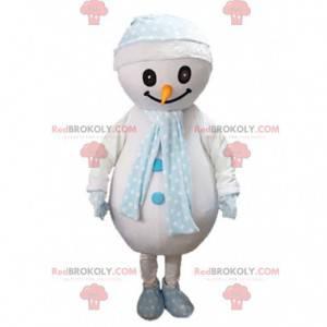 Mascote grande boneco de neve com um lenço e um chapéu -