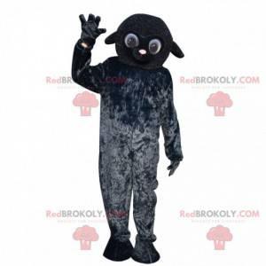 Heel schattig zwart schaap mascotte, boerderijkostuum -