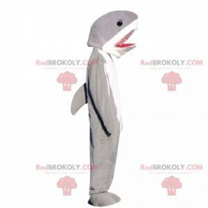 Mascote de tubarão cinza e branco, fantasia de peixe grande -