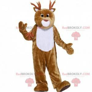 Mascota del reno marrón y blanco, traje navideño -