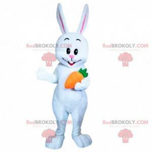 Maskot bílý králík s mrkví, kostým hlodavce - Redbrokoly.com